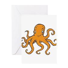 Orange Octopus Greeting Card