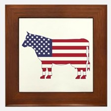 US Flag Cow Icon Framed Tile