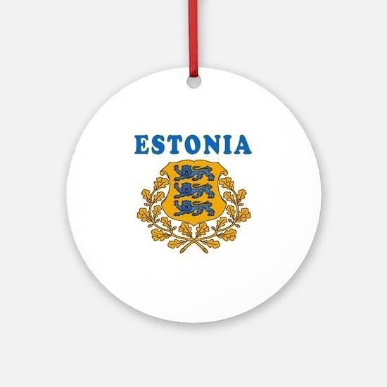 Estonia Coat Of Arms Designs Ornament (Round)