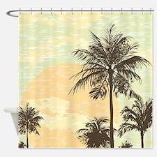 Pretty Serene Sunset and Palm Trees Scene Shower C