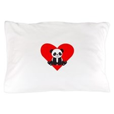 Cute Panda Heart Pillow Case