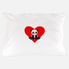 Cute Panda Heart Pillow Case