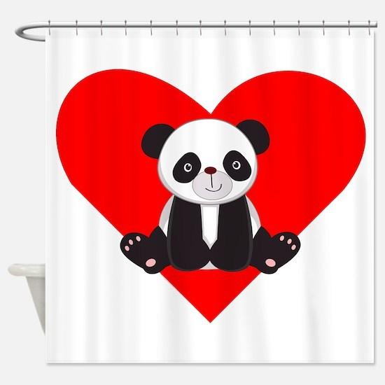 Cute Panda Heart Shower Curtain