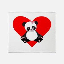 Girl Panda Heart Throw Blanket