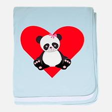 Girl Panda Heart baby blanket