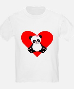 Girl Panda Heart T-Shirt