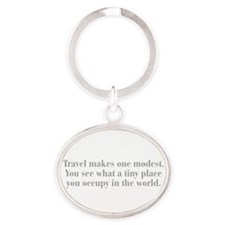travel-makes-one-modest-bod-gray Keychains