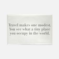 travel-makes-one-modest-bod-gray Rectangle Magnet