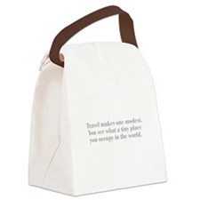 travel-makes-one-modest-bod-gray Canvas Lunch Bag