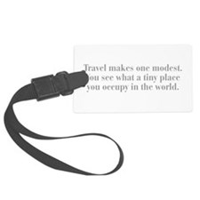 travel-makes-one-modest-bod-gray Luggage Tag