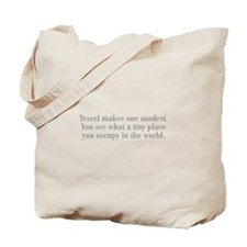 travel-makes-one-modest-bod-gray Tote Bag