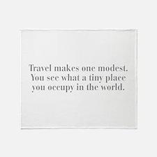 travel-makes-one-modest-bod-gray Throw Blanket