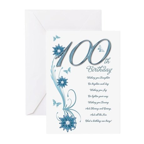 100th birthday in teal Greeting Cards (Pk of 10)