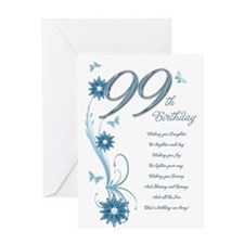 99th birthday in teal Greeting Card