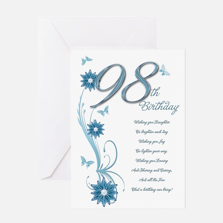 98th birthday in teal Greeting Card