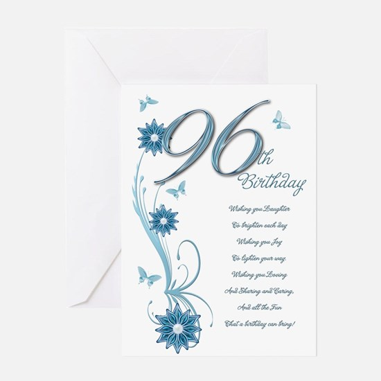 96th birthday in teal Greeting Card