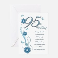 95th birthday in teal Greeting Card