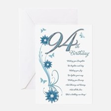 94th birthday in teal Greeting Card