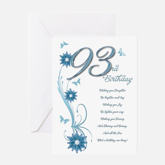 93rd birthday in teal Greeting Card