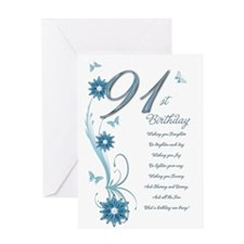 91st birthday in teal Greeting Card