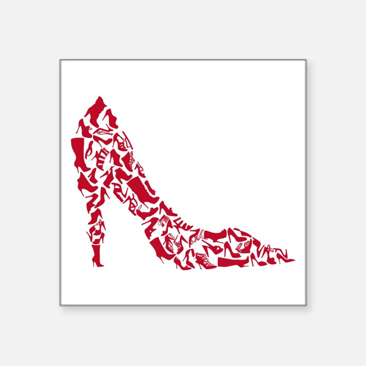 shoe silhouette with different shoes Sticker