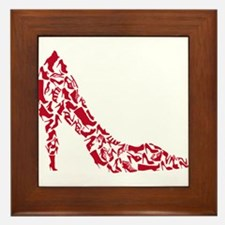 shoe silhouette with different shoes Framed Tile