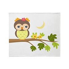 Cartoon Owl on Branch Throw Blanket