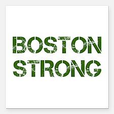 "boston-strong-cap-dark-green Square Car Magnet 3"""