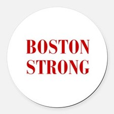 boston-strong-bod-dark-red Round Car Magnet