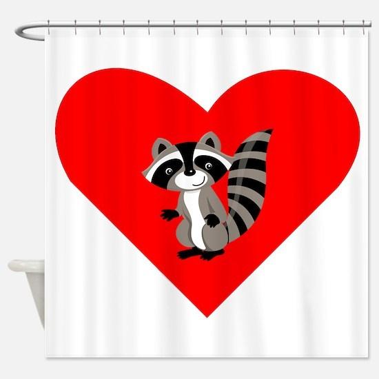 Raccoon Heart Shower Curtain
