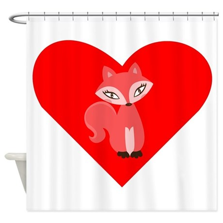 Red Fox Heart Shower Curtain