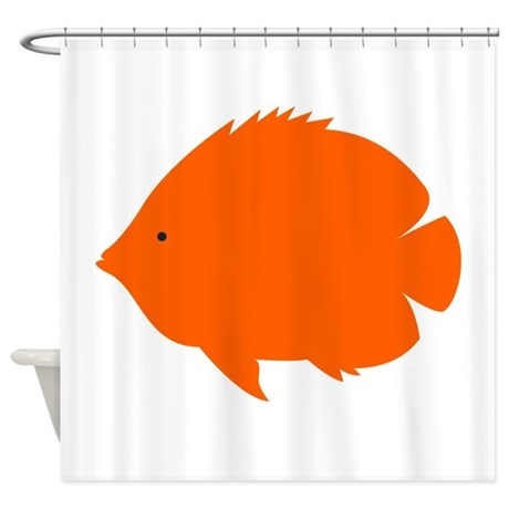 Orange tropical fish shower curtain by reallycuteanimals for Tropical fish shower curtain