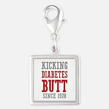 Diabetes Butt Since 1978 Silver Square Charm