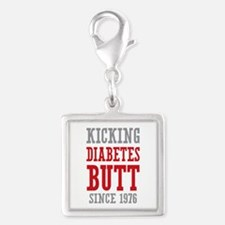 Diabetes Butt Since 1976 Silver Square Charm