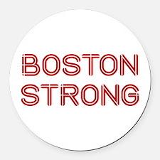 boston-strong-so-dark-red Round Car Magnet