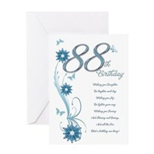 88th birthday in teal Greeting Card