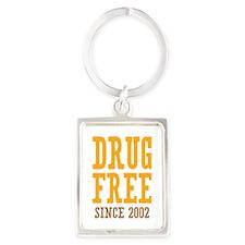Drug Free Since 2002 Portrait Keychain