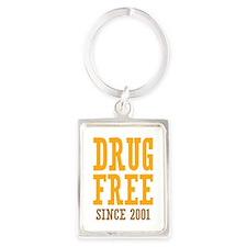 Drug Free Since 2001 Portrait Keychain