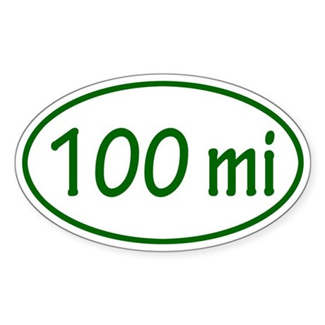 Green 100 mi Oval Sticker