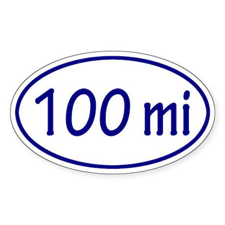 Blue 100 mi Oval Sticker