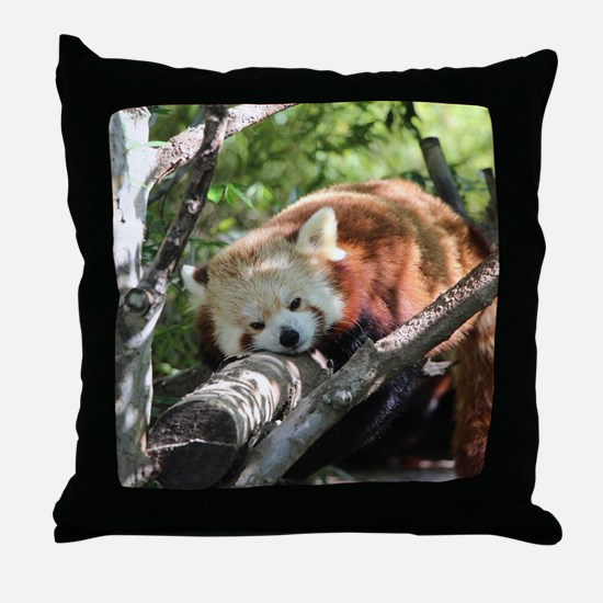Sleepy Red Panda Throw Pillow