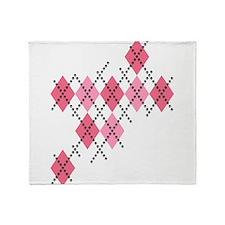 Pink Evil Argyle Throw Blanket