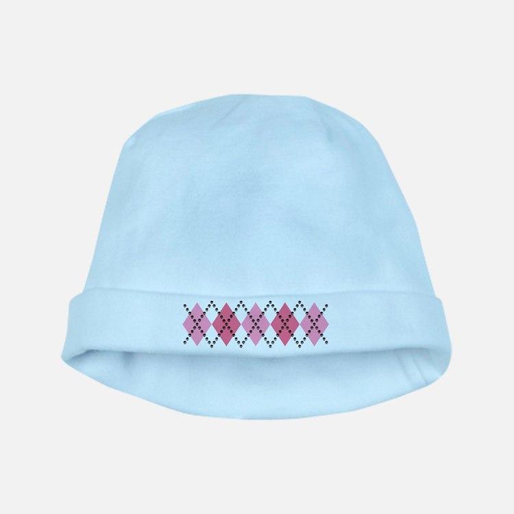 Pink Evil Argyle baby hat