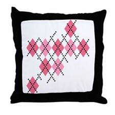 Pink Evil Argyle Throw Pillow
