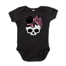 Cute Skull Top Hat And Pink Bow Baby Bodysuit