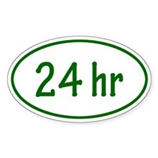 Green 24 hr Oval Decal