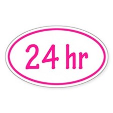 Pink 24 hr Oval Decal