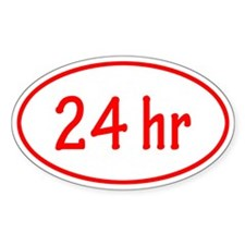 Red 24 hr Oval Decal