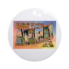 Los Angeles California Greetings Ornament (Round)