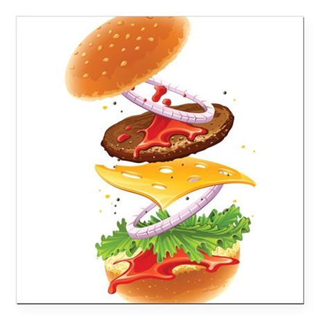 Cheeseburger - Deconstructed Square Car Magnet 3""